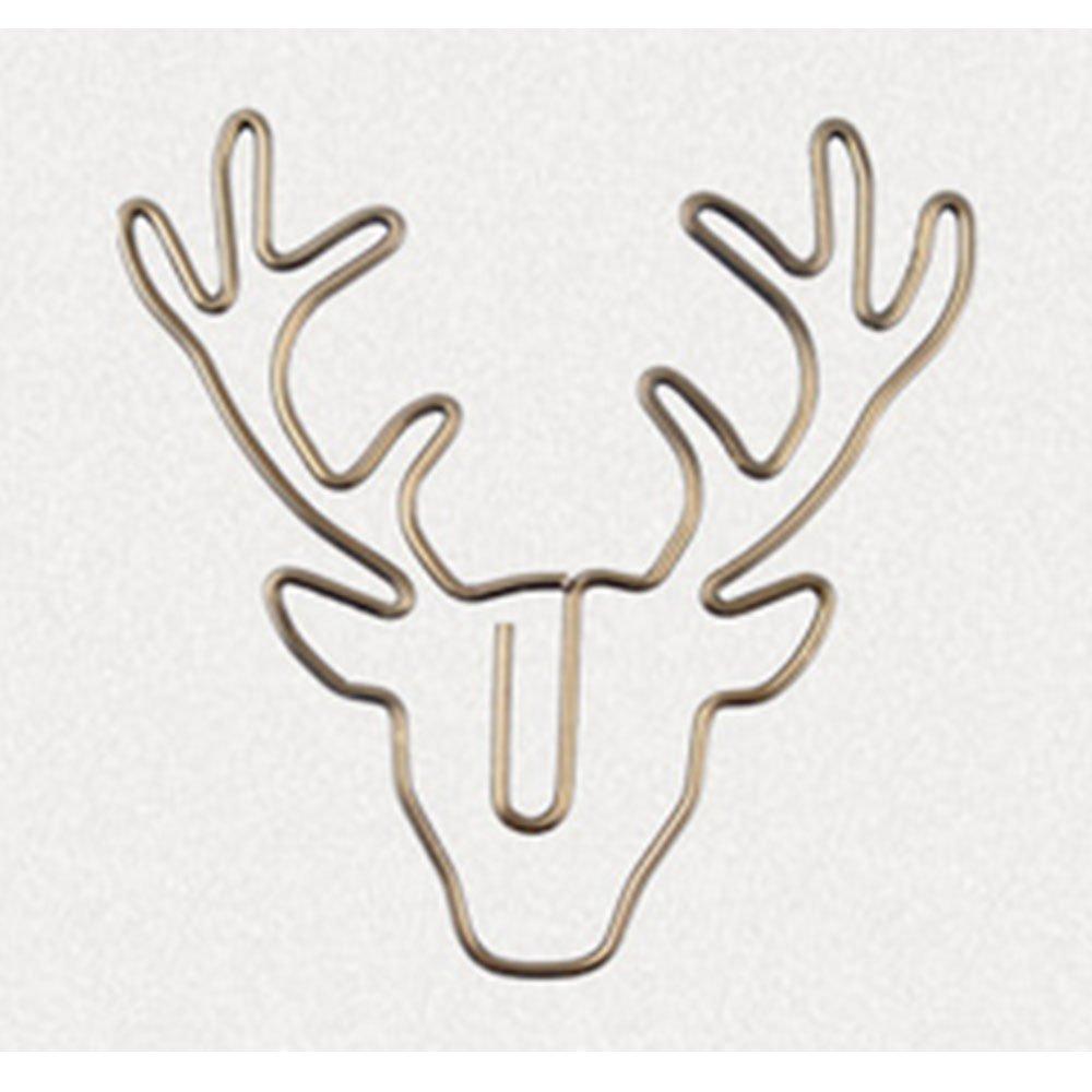 ZWANDP Retro Bronze Deer Head Creative Bookmarks Paper Clip Multipurpose Binding Clips Document Classification Label Message Folder Clips(8pcs)