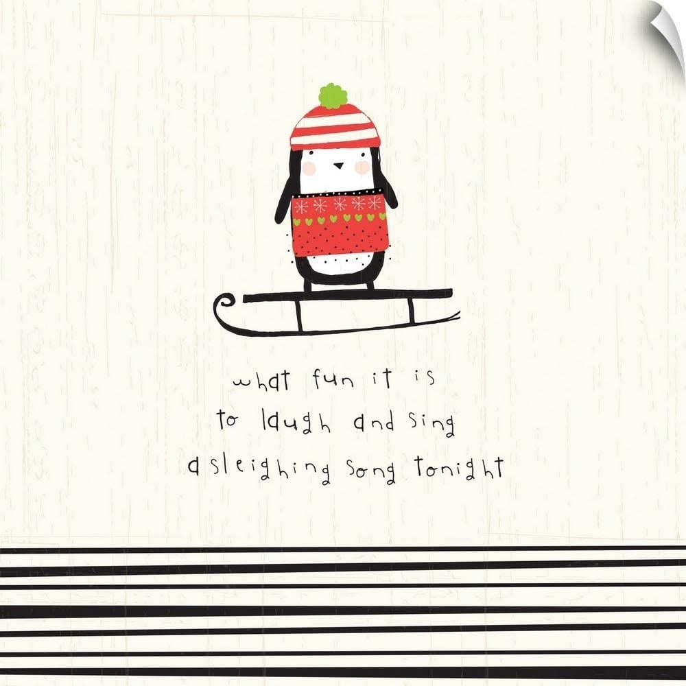 """CANVAS ON DEMAND Sleighing Song Penguin Wall Decal, 16""""x16"""""""
