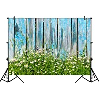 Funnytree 7x5ft photography backdrop background blue wooden wall plank daisy spring photograph studio photobooth photoshoot