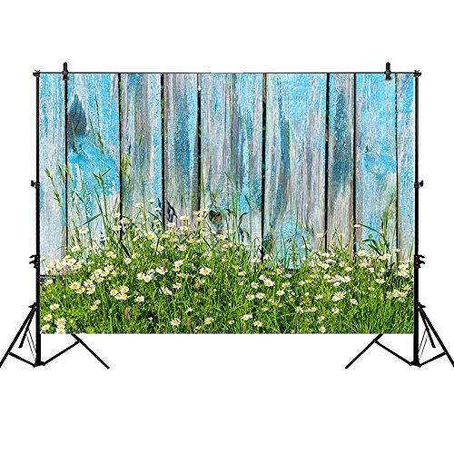 Funnytree 7x5ft photography backdrop background blue wooden wall plank daisy spring photograph studio photobooth photoshoot for $<!--$26.99-->