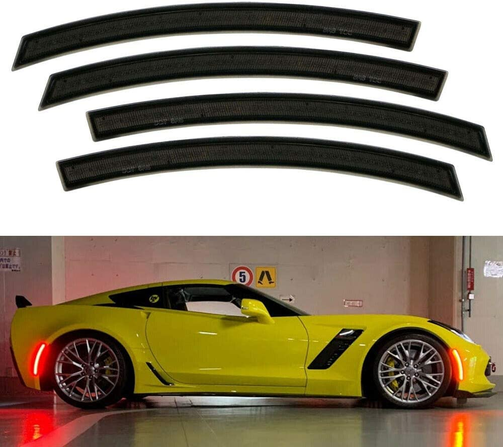 NDRUSH Blackout Side Marker Lights /& Reflectors Vinyl Tint Film Precut Overlay Air-Release Sidemarker Wrap Covers Compatible with Chevy Corvette C7 2014 2015 2016 2017
