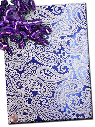 24'' X 15' Blue Embssd Paisley On Silver Gift Wrap by Paper Mart