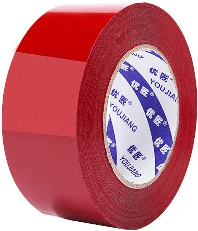 HAILUNK Color Tape 6cm Wide Packing Sealing with High Viscosity is Not Easy to Break Transparent Tape Sealing Tape Red Color 40 Volume