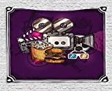 Ambesonne Modern Tapestry, Cartoon Like Cinema Movie Image Burgers Popcorns Glasses Watching Film, Wall Hanging for Bedroom Living Room Dorm, 60 W X 40 L inches, Purple Earth Yellow