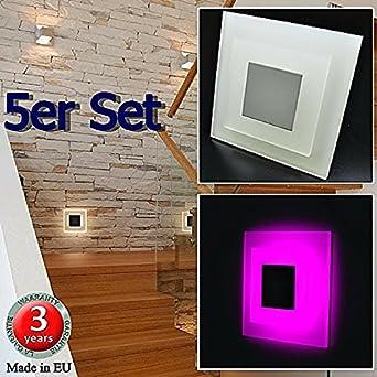 Juego de 5 SUN-LED apliques focos LED para escaleras, escalera, corridor, luz rosa marco de