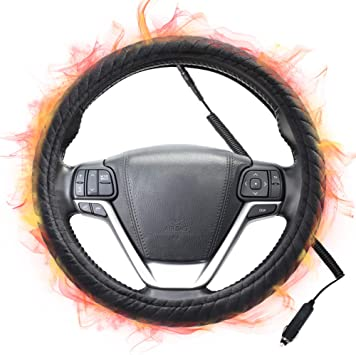 SEG Direct Black and Red Microfiber Leather Steering Wheel Cover for F-150 Tundra Range Rover 15.5-16