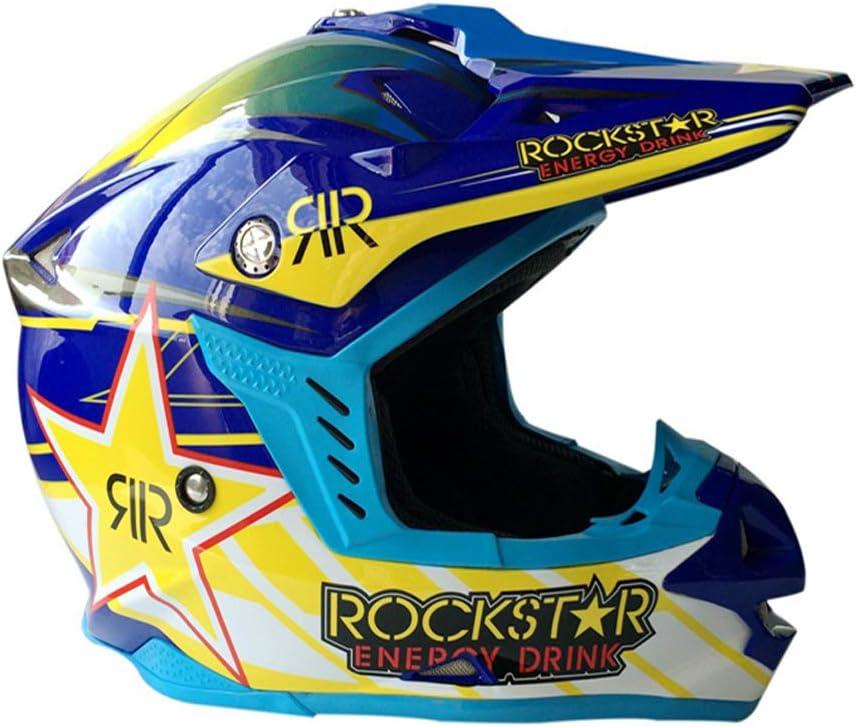 55~56cm WenYan Adult Motocross Helmet MX Motorcycle Helm Scooter ATV Helm Road Race Rockstar Motocross Race Head Schutz,Blue,M