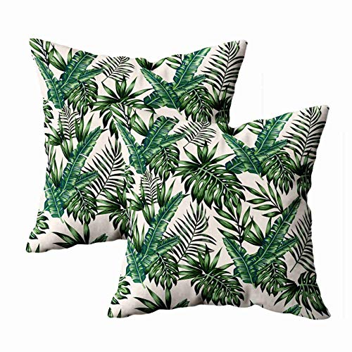 - Musesh Body Pillow Cover, Pack of 2 Exotic Tropical Palm Leaves Monstera Background Pattern Wallpaper for Sofa Decorative Pillowcase 18X18Inch Pillow Covers