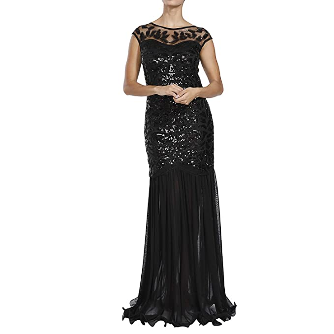 0b66d6ebef M MAYEVER 1920s Long Prom Dresses Sequins Beads Gatsby Evening Party Gown    Headband (S