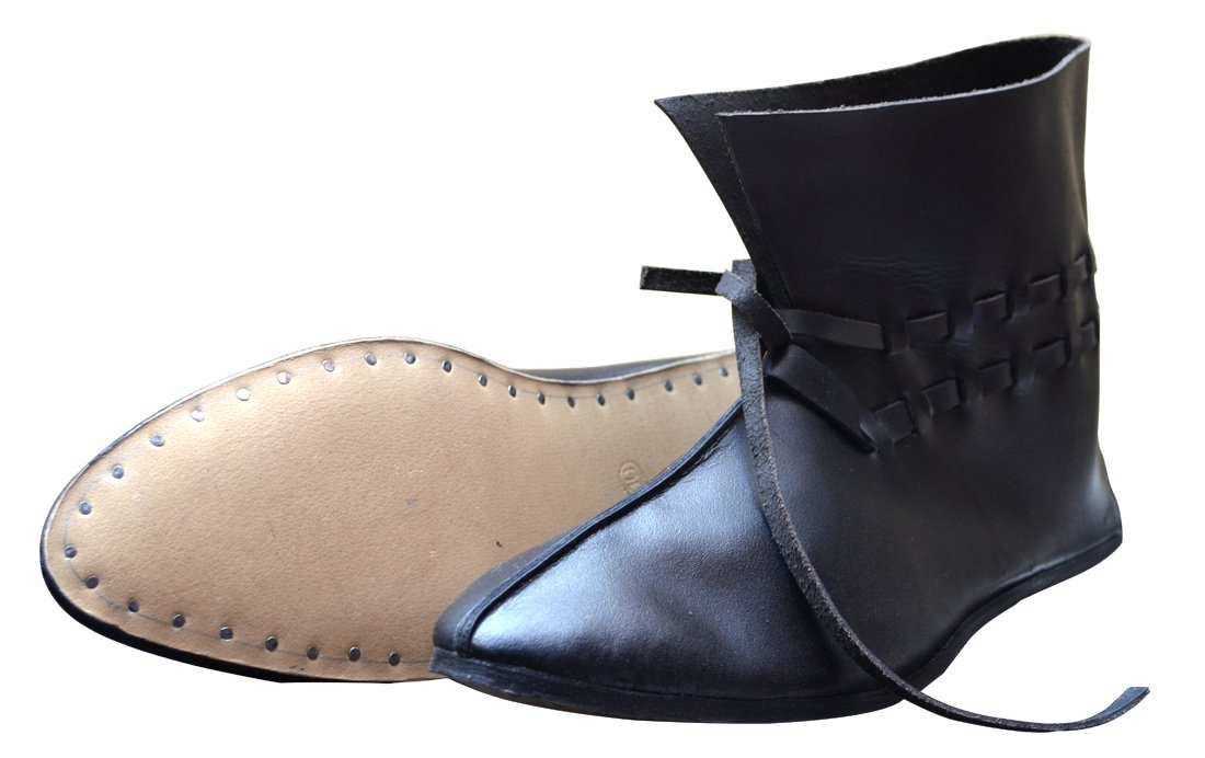 Medieval Black or Brown Natural Leather Ankle Boots - DeluxeAdultCostumes.com