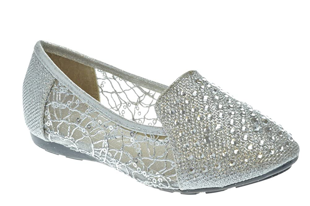 SHOEDEZIGNS Shoe Dezigns KD 15 KM Little Girls Rhinestone Ballet Ballerina Flats Silver Glitter