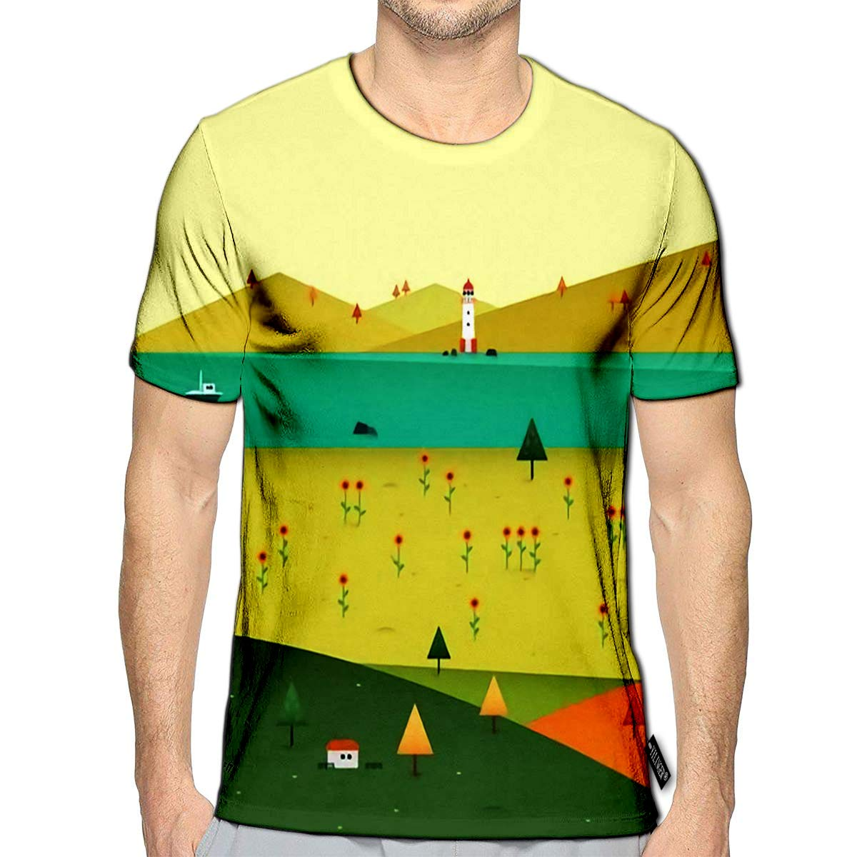 YILINGER 3D Printed T-Shirts Autumn Beautiful Landscape Short Sleeve Tops Tees
