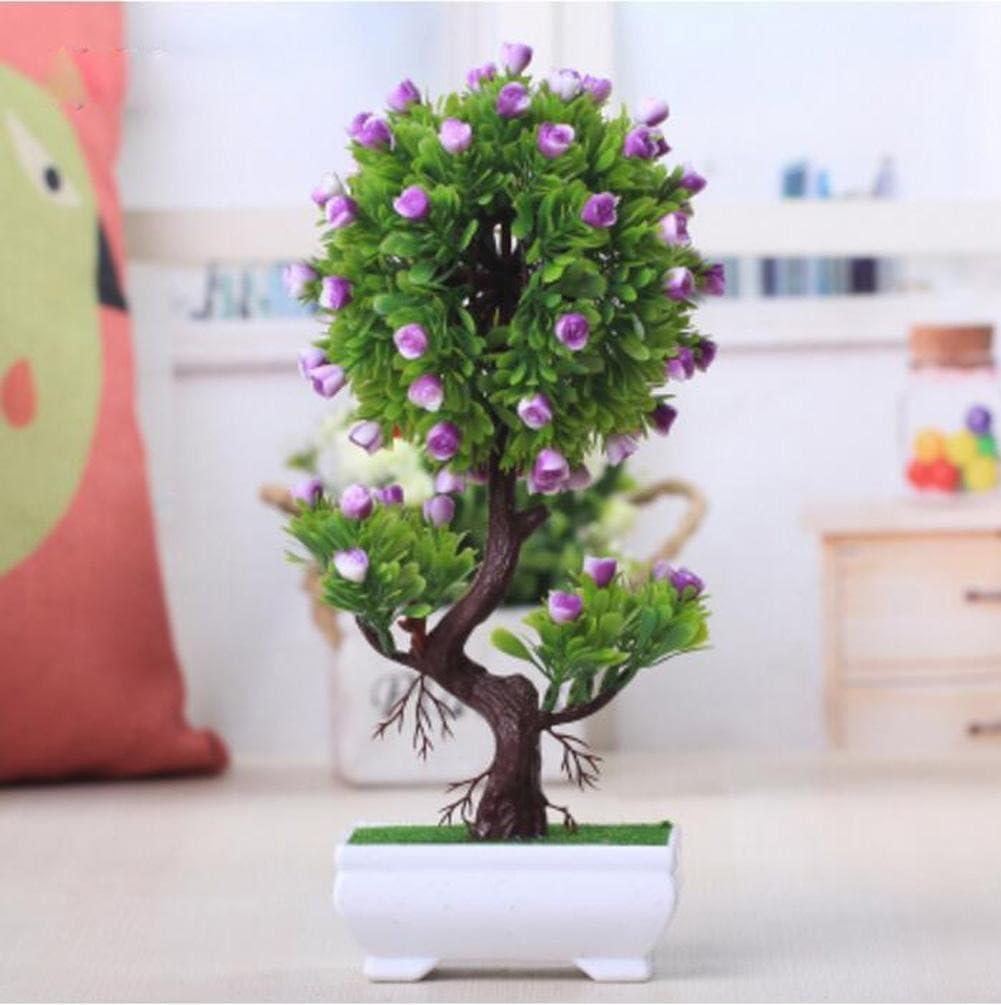 2018decorativa Flores Simulación Artificial Planta Flor árbol verde Algodón olla (mucho color) Salón Mesa plástico Flores. Lucky Feng Shui Decoración (Multi de color), C