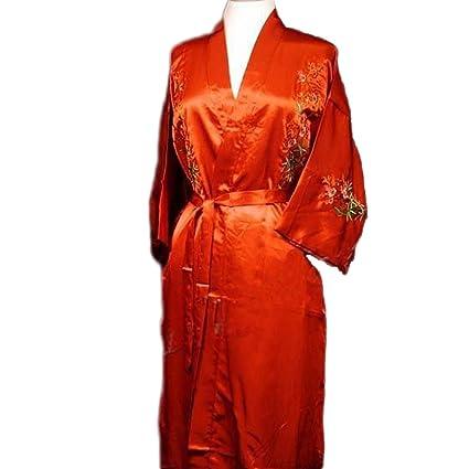 960d428e64e Amazon.com  Chinese Women s Silk Satin Embroidery Kimono Robe Gown Flowers ( Red