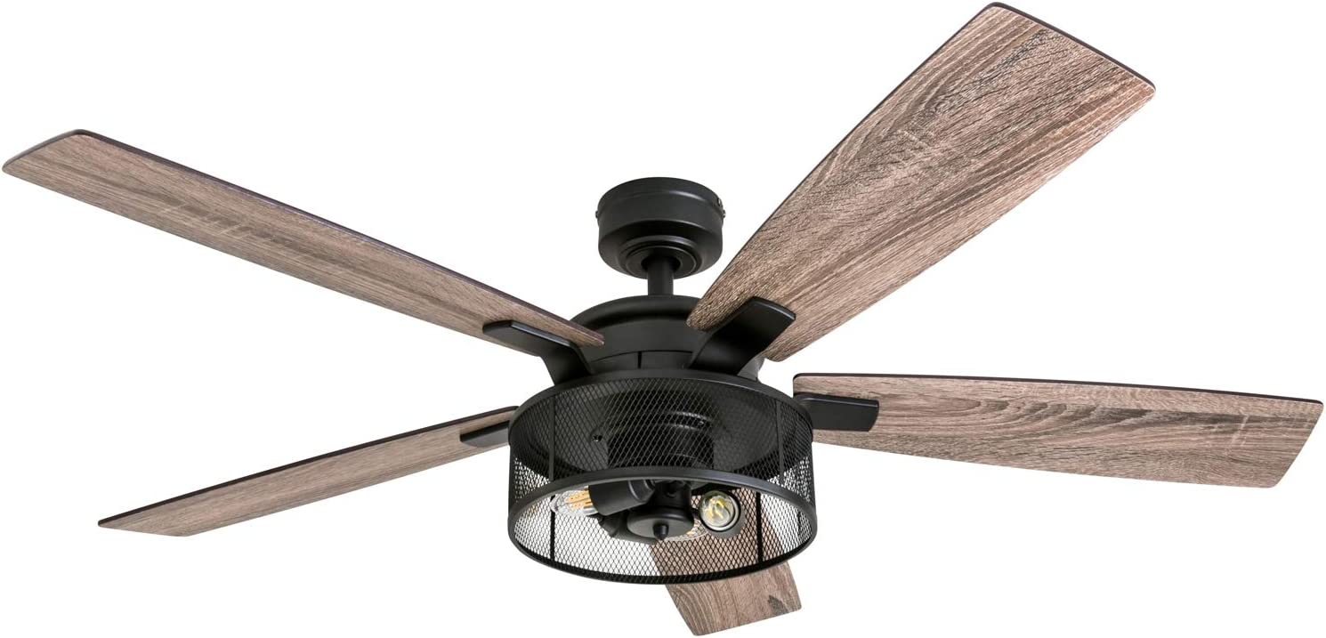 Amazon Com Honeywell Ceiling Fans 50614 01 Carnegie Led Ceiling Fan 52 Indoor Rustic Barnwood Blades Industrial Cage Light Matte Black Home Improvement