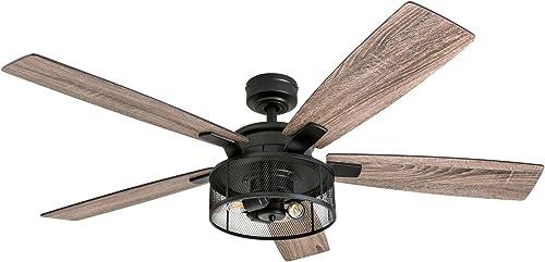 Honeywell Ceiling Fans 50614-01 Carnegie LED Ceiling Fan 52 , Indoor, Rustic Barnwood Blades, Industrial Cage Light, Matte Black