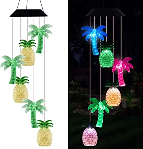 xxschy LED Solar Coconut Tree Pineapple Wind Chimes Outdoor - Waterproof Solar Powered Changing Color Palm Tree Pineapple Wind Chime Light for Home, Party, Festival Decor, Night Garden Decoration