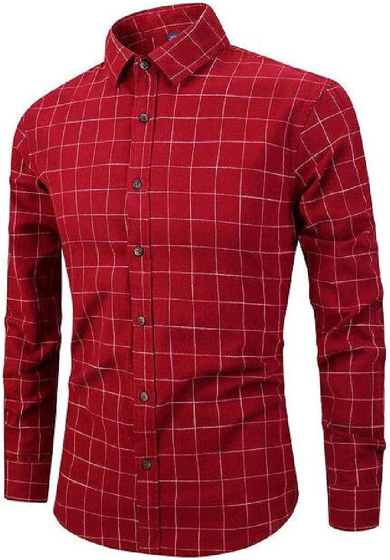 Abeaicoc Mens Casual Button Down Slim Fit Plaid Printed Long Sleeve Shirt