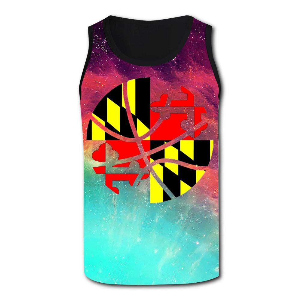 GCASST Basketball Sports Maryland Flag 3D Printed Casual Tank Tops Fashion Vest for Men