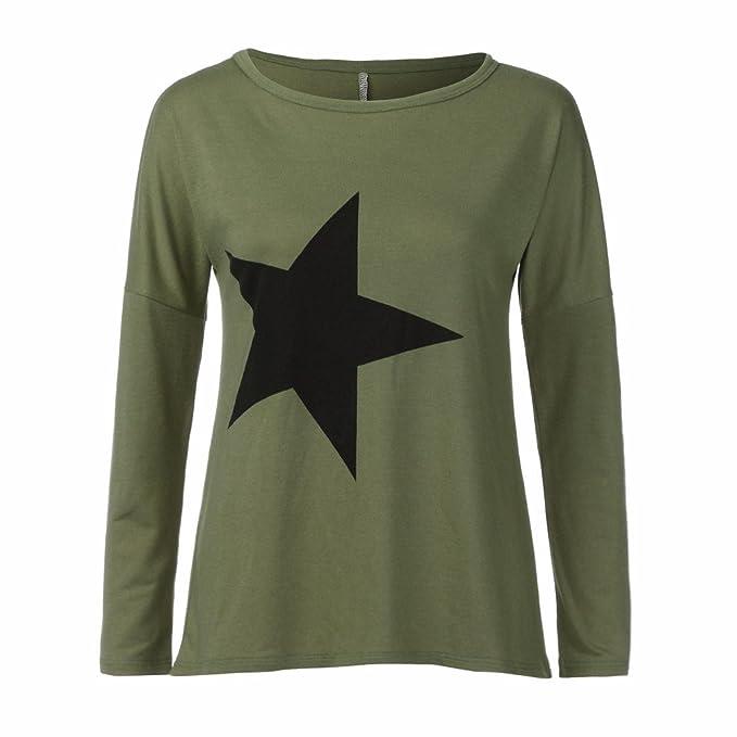 Camisetas Mujer SUNNSEAN Estampado Estrella Camiseta de Moda ...