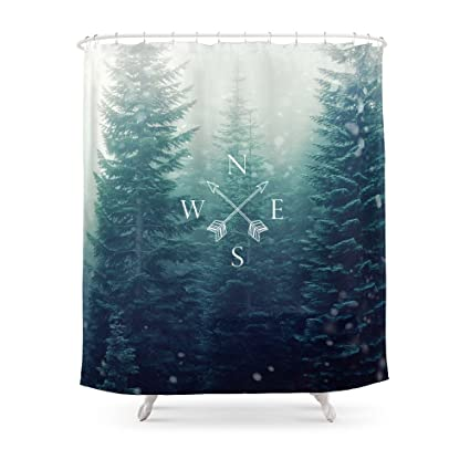 Society6 Arrow Compass In The Winter Woods Shower Curtain 71quot
