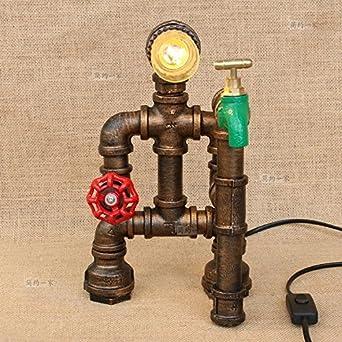 Modeen Home Wasserhahn Red Ventilgriff Green Hahn Tischlampe Schreibtisch  Lampe Nachttisch Holz Basis Tisch Lampen Loft