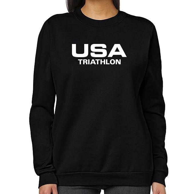 Teeburon USA Triathlon ATHLETIC AMERICA Sudadera Mujer: Amazon.es: Ropa y accesorios