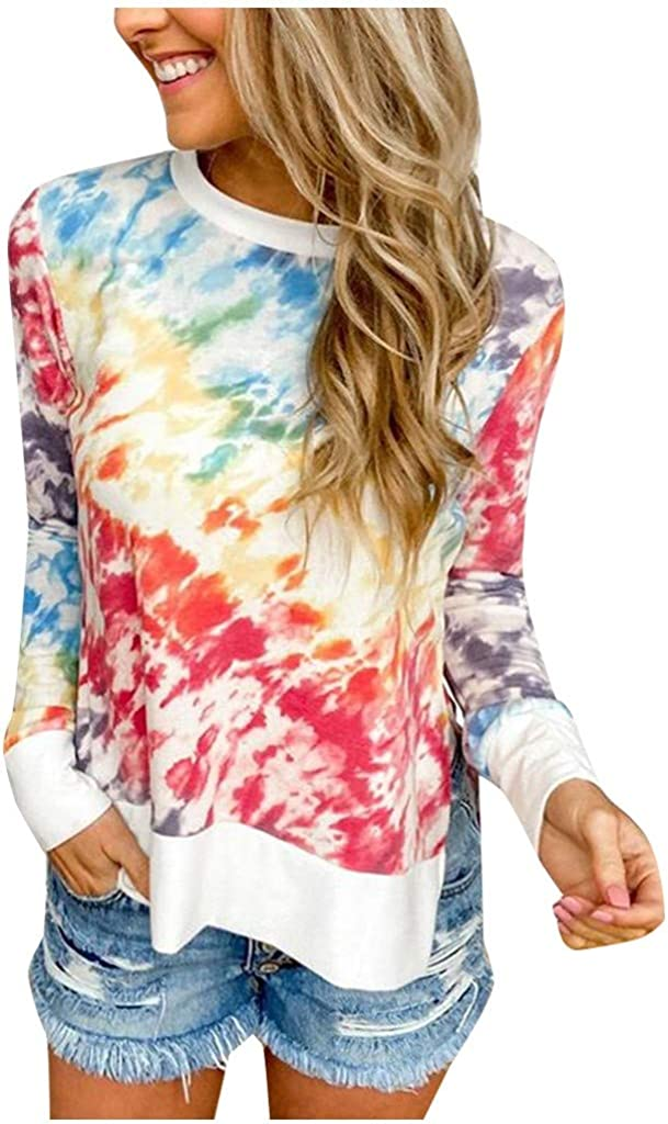 Kinsaiy Women Sweatshirt Hoodies Casual Print Long Sleeve Pullover Tops Loose Blouses Top Plus Size Hooded Sweatshirt