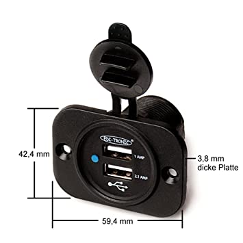 2,1A Doppel Boot Motorrad Auto KFZ LKW Adapter 12-24 V Dual 2x USB 5V Einbaubuchse max