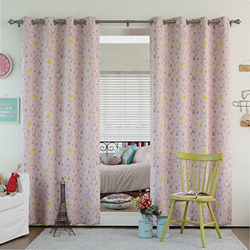 Best Home Fashion Room Darkening Bunny Print Curtains - Stainless Steel Nickel Grommet Top - Pink - 52