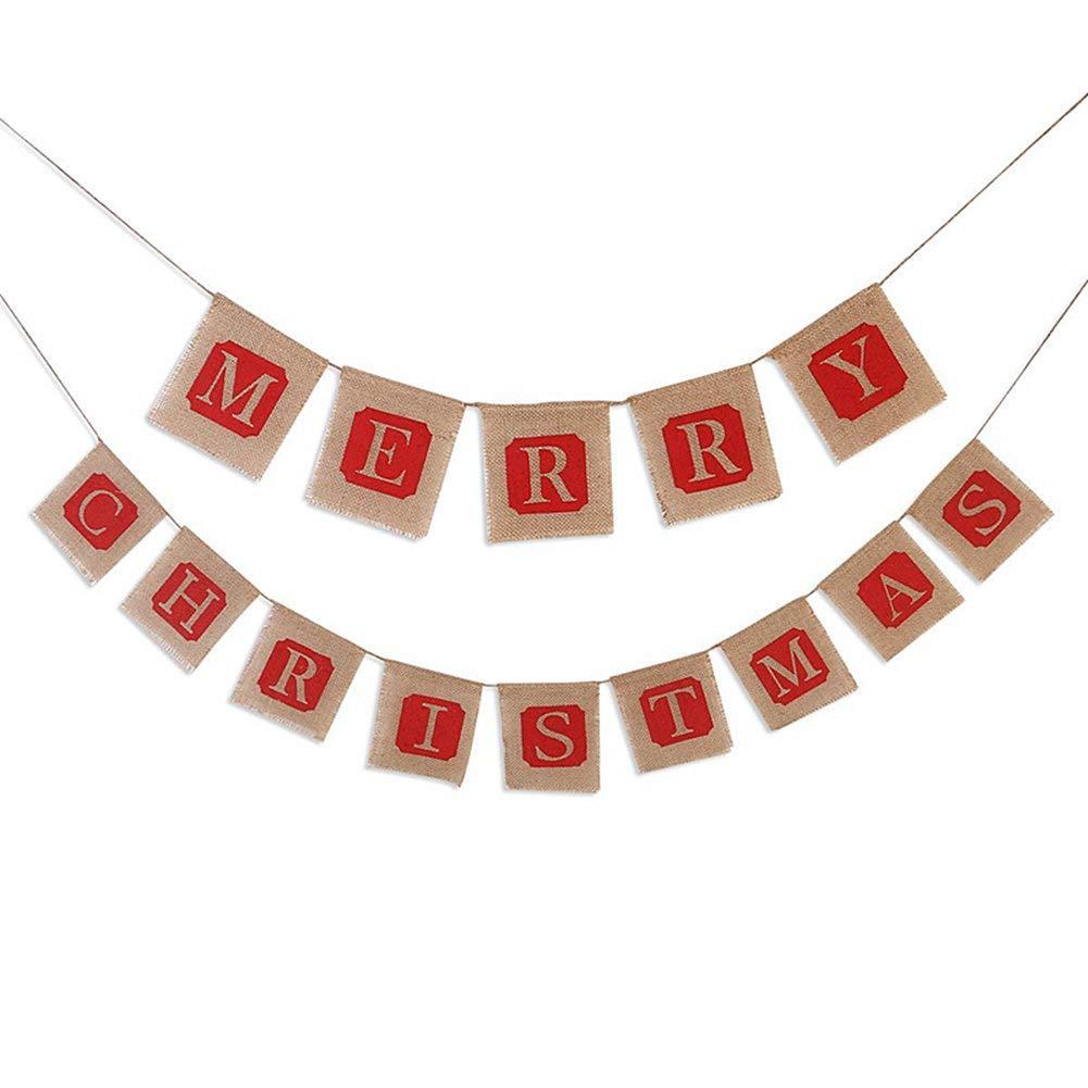 クリスマス黄麻布バナー クリスマスパーティー装飾ガーランド ホリデーパーティー装飾用   B07JM3V5XZ