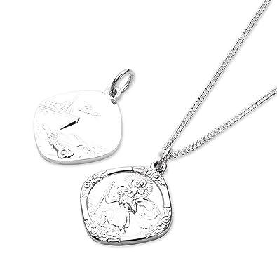 Collier et Pendentif Médaille de Saint-Christophe Carrée en Argent 925 1000  - 41 9823e896cc45