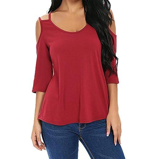 bd615b731b8d2b Coohole Womens Short Sleeve Off Shoulder Back Strap Halter Fashion Blouse  Top (S, Red