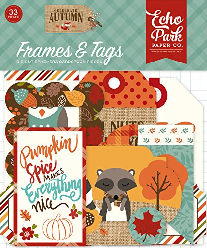 Echo Park Paper Company CAU158025 Celebrate Autumn Frames & Tags Ephemera, Orange, Yellow, Blue, Brown, Tan