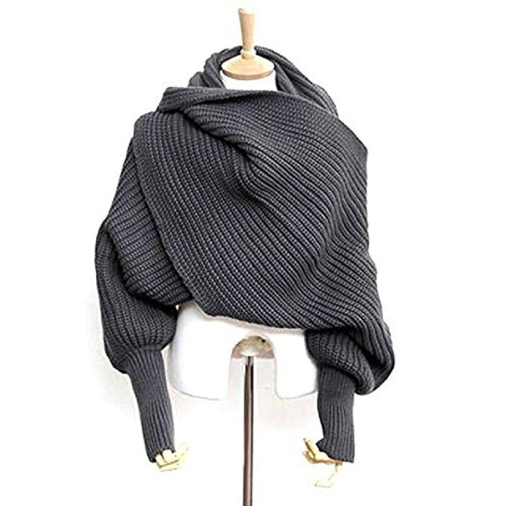 Unisex Fashion Autumn Winter Unisex Knitted Scarf Cape Shawl with Sleeves Dark Grey 03W3441HUI