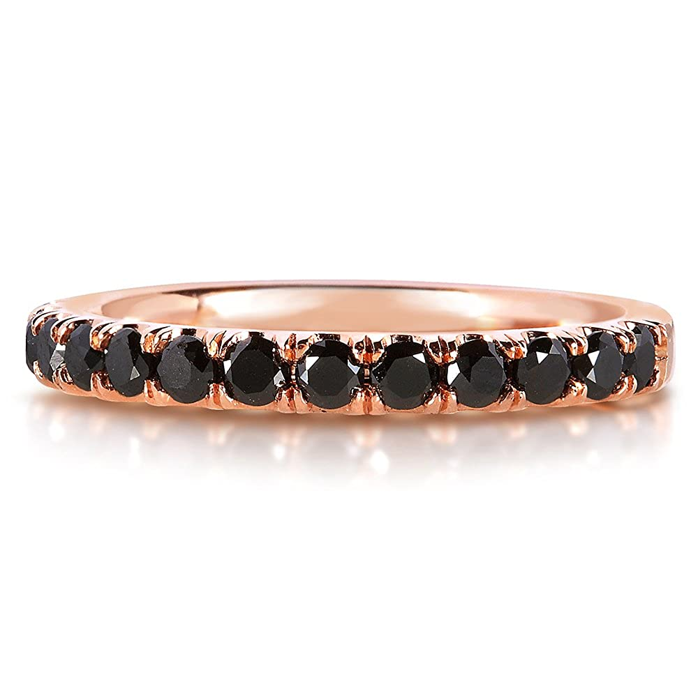 Black Diamond Comfort Fit Flame French Pave Band 1 2 carat ctw in 14K Rose Gold