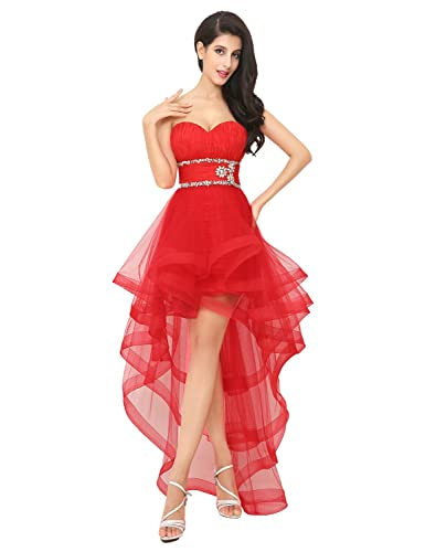 Belle House Women's High Low Cocktail Party Gown Strapless Prom Dresses HAJ014