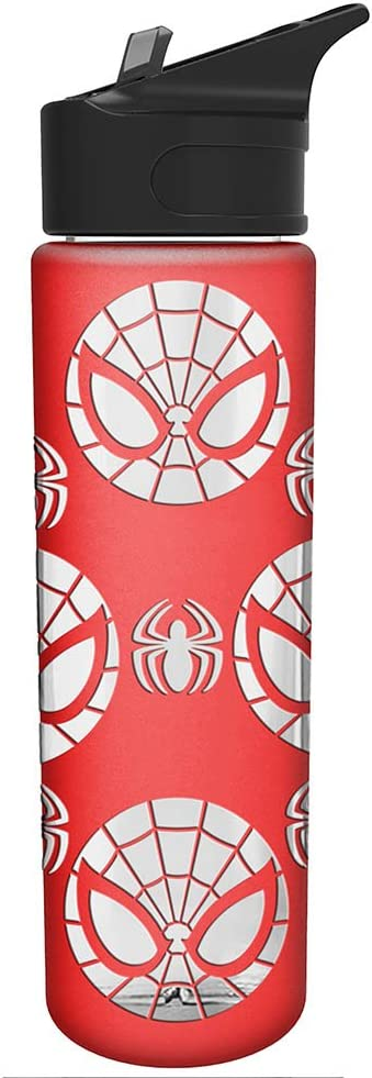 Silver Buffalo Marvel Spiderman Logo with Silicone Sleeve Glass Water Bottle, 20 oz, Multicolor