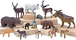 Constructive Playthings TOM-64 Vinyl Forest Animal Play Set, Figurine Animal Collection, Set of 4 Animals