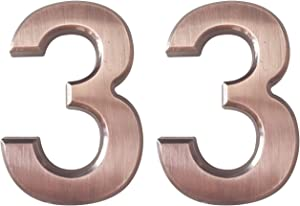 2 Pieces 2.75 Inch Self Adhesive House Numbers- Door Address Number for Mailbox/Home/Hotel/Office/Condo/Apartment, Bronze, Double 3