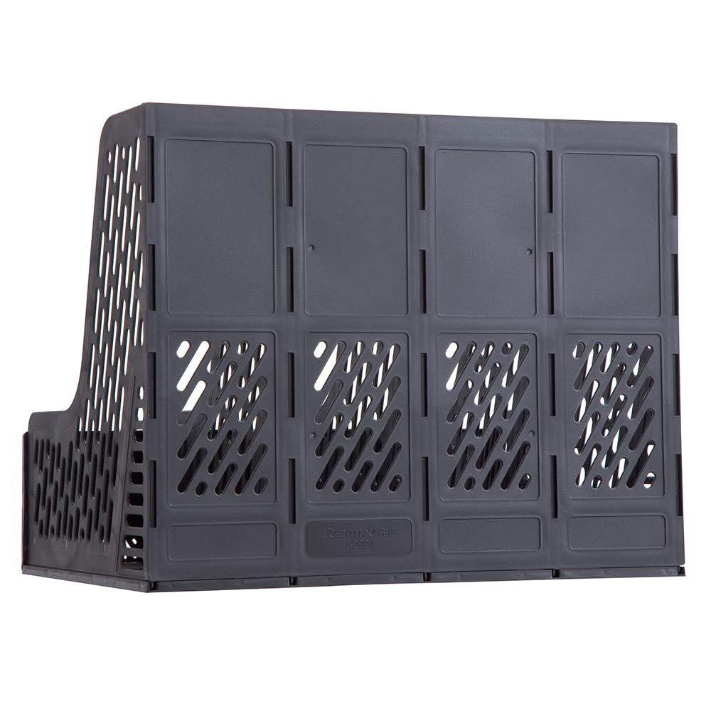 Grey Comix Magazine Holder 4 Compartments File Holder Desktop File Sorter Document Divider Organizer Box B2024