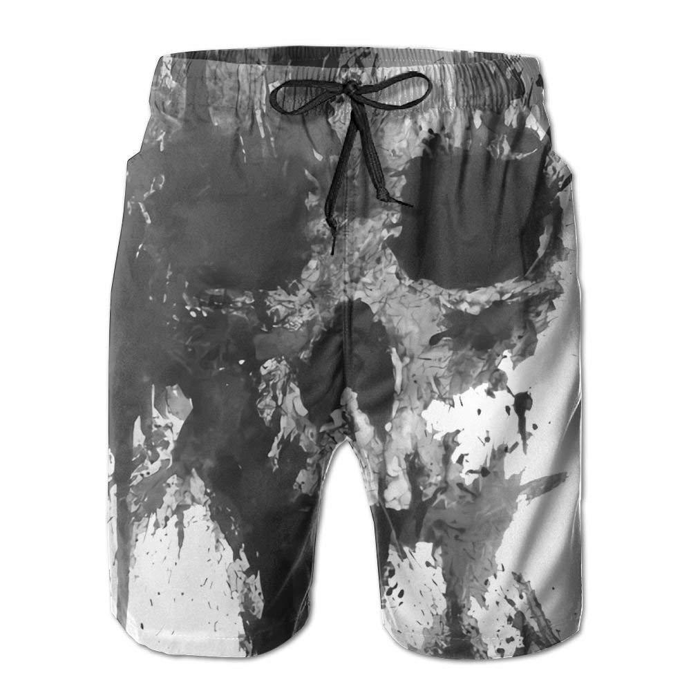 Chushiji Ink Skull Printing Mens Soft Short Beach Pants with Pockets
