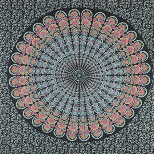 LOUDelephant Mandala Impresión viscosa rayón sarong negro
