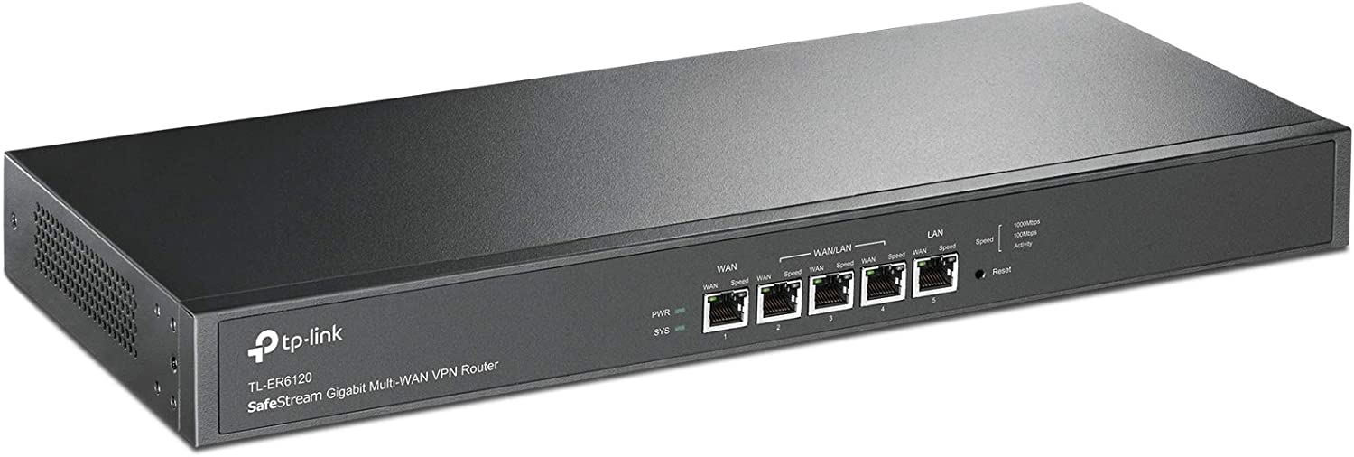 "Amazon.com: TP-Link SafeStream TL-ER6120 Gigabit Broadband 19""1U Rackmount  64-bit dual core VPN Router, 800M NAT throughput, 150k Concurrent Sessions,  100 IPSec VPN Tunnels, 4 WAN Load balance or auto failover: Computers &"