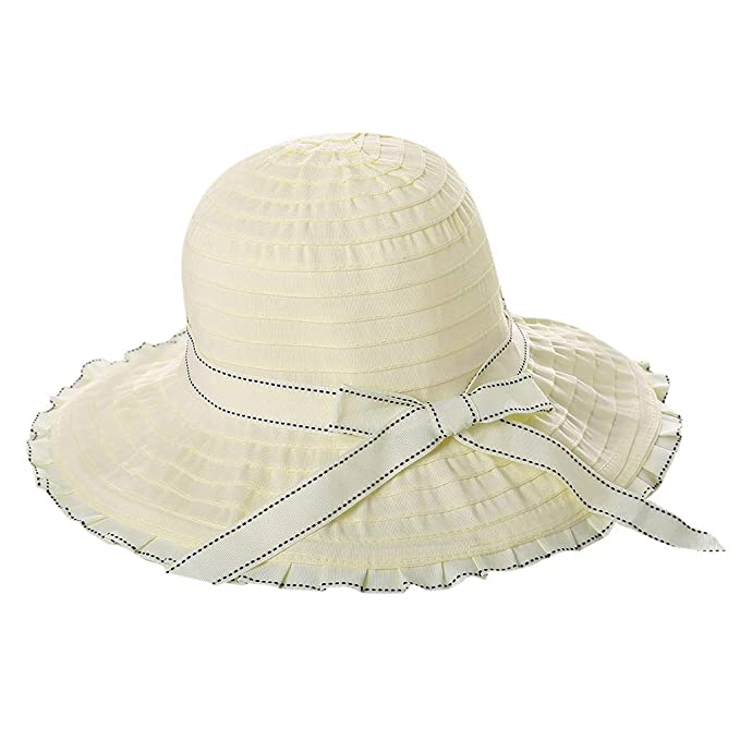 Hurber Womens Straw Wide Brim Sun Protection Bucket Hat Floppy Foldable Hat Summer Beach Cap for Travel