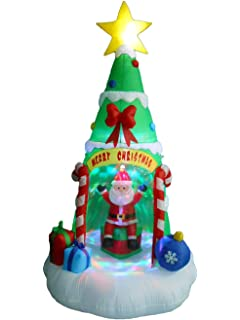 8 foot tall lighted inflatable christmas tree with santa claus color led lights yard decoration - Lighted Christmas Presents