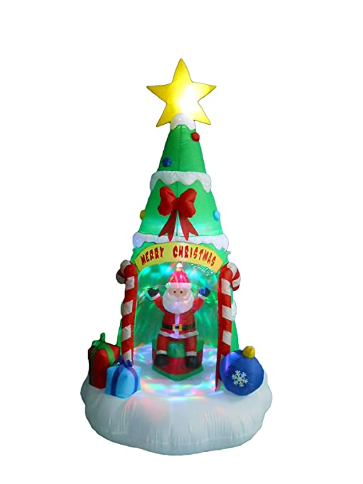Christmas Tree.8 Foot Tall Lighted Inflatable Christmas Tree With Santa Claus Color Led Lights Yard Decoration