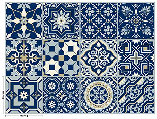 The Nisha 24 PC Pack Art Eclectic Peel and Stick Wall Sticky Backsplash Vinyl Waterproof Removable Tile Sticker Decals for Bathroom & Kitchen, 4x4 Inch, Royal Blue -