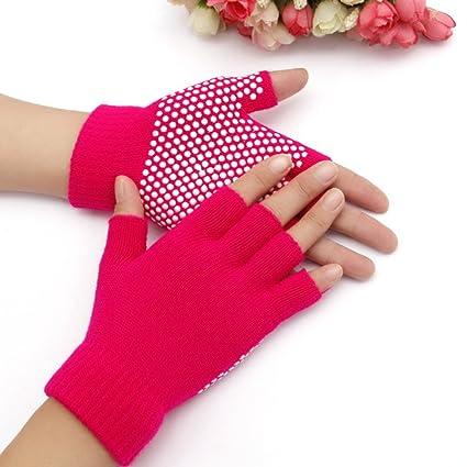 Amazon.com : KABAKE Grippy Yoga Gloves Non-Slip Fingerless ...