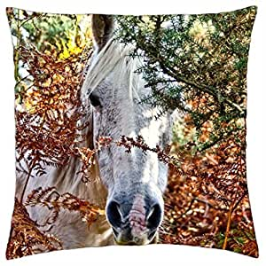 Horse in the forrest - Throw Pillow Cover Case (18